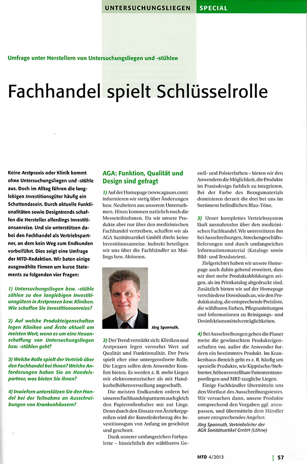 Survey among manufacturers of examination chairs and tables: Distribution network plays key role - Article in MTD, Medizin-Technischer Dialog - www.mtd.de - 39th Year | Nr. 4 | April 2013