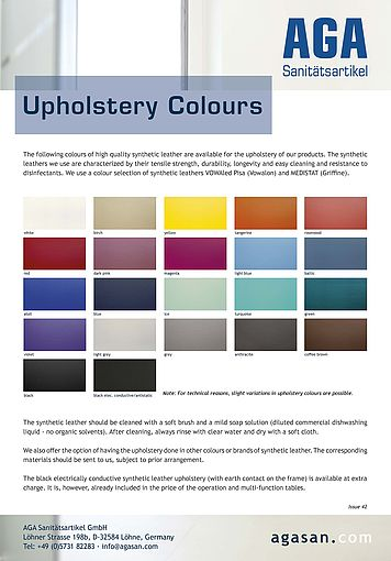 AGA upholstery colours